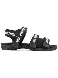 Hysteric Glamour Logo Print Strapped Sandals Black