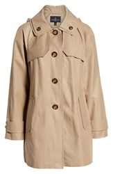 London Fog Removable Hood Rain Coat Khaki