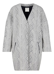 Sandwich Graphic Jacquard Coat Multi Coloured