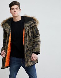 edd6dbbe2 Man Padded Coat With Faux Fur Hood In Camo Green