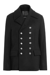 Dolce And Gabbana Pea Coat With Contrast Buttons Black