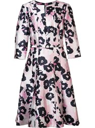 Oscar De La Renta Flower Print Flared Dress Pink Purple