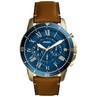 Fossil Fs5268 Men's Grant Chronograph Leather Strap Watch Tan Blue