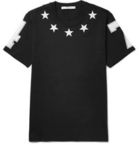 Givenchy Cuban Fit Appliqued Cotton Jersey T Shirt Black