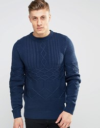 Bellfield Mixed Cable Knitted Jumper Navy