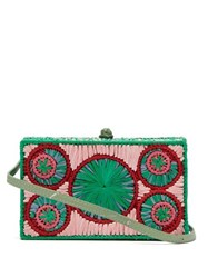 Sophie Anderson Mia Woven Raffia Cross Body Bag Blue Multi