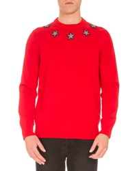 Givenchy Star Embroidered Crewneck Sweater Red