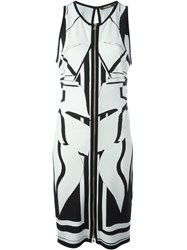 Roberto Cavalli Print Front Zip Dress White