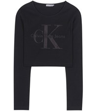 Calvin Klein Jeans Mytheresa.Com Exclusive Cotton Blend Crop Top Black