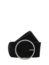 Alessandra Rich 70Mm Suede And Crystal Belt Black