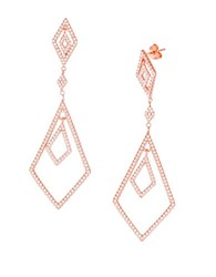 Lord And Taylor Geometric Cubic Zirconia 18K Rose Gold Drop Earrings