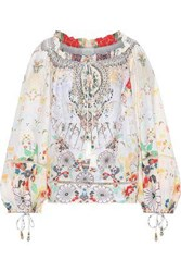 Camilla Woman Time After Time Bow Detailed Embellished Linen Blouse Multicolor