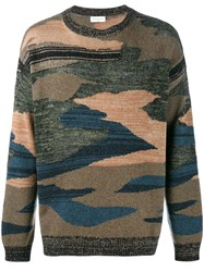 Dries Van Noten Camouflage Knitted Jumper Multicolour