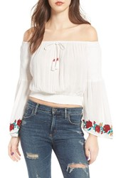 Band Of Gypsies Women's Embroidered Off The Shoulder Crop Top