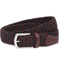Andersons Woven Elastic And Leather Belt Navy Brown Red