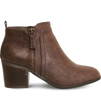 Office Lucy Side Zip Detail Ankle Boot Chocolate