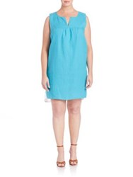 Johnny Was Plus Size Linen And Silk Patchwork Dress Aqua Multi