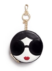 Alice Olivia 'Stace Face' Circular Leather Coin Pouch Keyring Black
