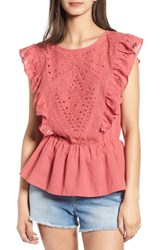 Hinge Eyelet Ruffle Top Red Slate