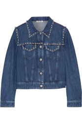 Miu Miu Embellished Denim Jacket Mid Denim