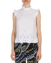 Erdem Mika Ruffled Laser Cut Blouse White