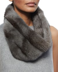 Mink Fur Snood Gray Carolina Herrera