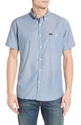 Brixton Men's 'Central' Trim Fit Short Sleeve Chambray Woven Shirt