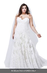 Watters Plus Size Lyric Strapless Lace Gown Ivory Ivory