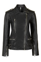 Topshop Tall Oversized Leather Jacket Black