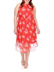 Lucky Brand Floral Halter Dress Red Multi