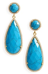 Susan Hanover Women's Semiprecious Stone Teardrop Earrings Turquoise Gold