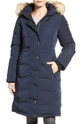 Pajar Women's Brooke Long Down Parka With Genuine Fox Fur Trim Navy