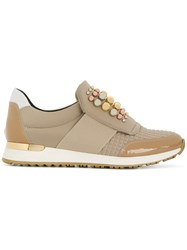 Baldinini Embellished Slip On Sneakers Nude And Neutrals