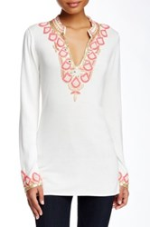 Julie Brown Macie Split Neck Blouse White