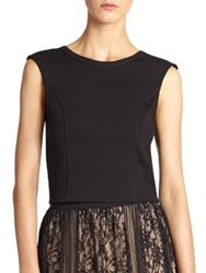 Abs By Allen Schwartz Ponte Cropped Top Black