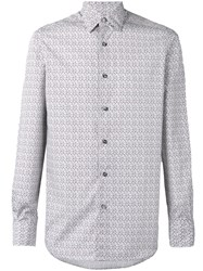 Ermenegildo Zegna Long Sleeve Geometric Print Shirt Men Cotton S White