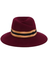 Maison Michel 'Virginie' Fedora Hat Red