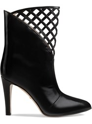 Gucci Cutout Leather Ankle Boot Black