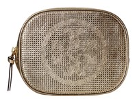 Tory Burch Logo Perforated Metallic Cosmetic Case Spark Gold