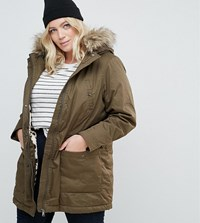 Junarose Parka With Fux Fur Trim Green