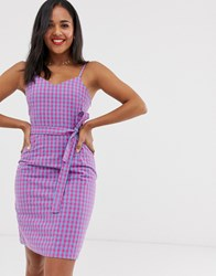 Daisy Street Cami Dress With Tie Waist In Gingham Multi