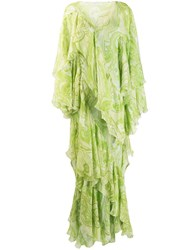 Etro Maxi Ruffled Printed Dress Green