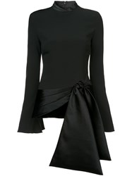 Brandon Maxwell Flare Sleeve Tie Bottom Top Black