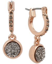 Kenneth Cole New York Rose Gold Tone Black Crystal And Druzy Stone Drop Earrings