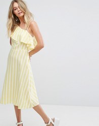 New Look One Shoulder Frill Sleeve Midi Dress Yellow