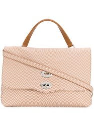 Zanellato Printed Twist Lock Tote Nude And Neutrals