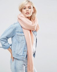 Asos Long Tassel Scarf In Supersoft Knit Pink