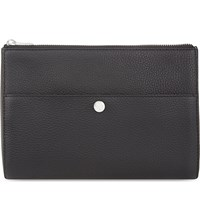Reiss Watson Grained Leather Wash Bag Black
