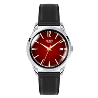 Henry London Mens 39Mm Chancery Leather Watch Black Red Gold