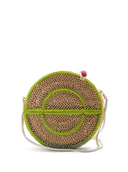 Sophie Anderson Nilsa Circle Toquilla Straw Cross Body Bag Cream Multi